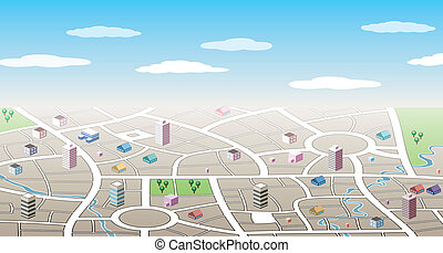 城市, 3d, 地图