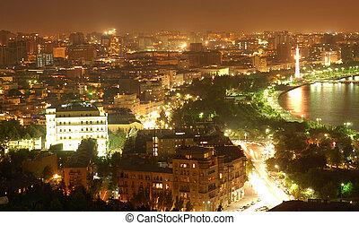 城市, baku, 夜晚