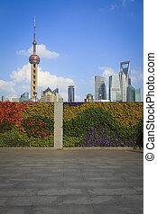 城市, bund, 上海, 地平線, 界標, 新, 風景