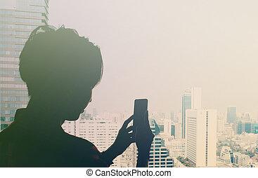 城市, e, 流動, 拿, 過濾器, 相片, retro, 電話, 看法, 人