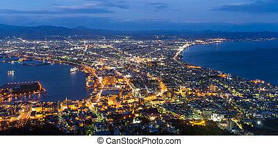 城市, hakodate, 傍晚