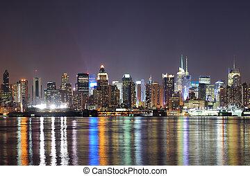 城市, midtown, 約克, 夜晚, 新, 曼哈頓