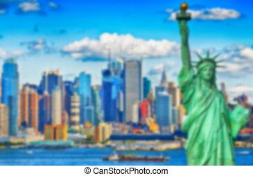 城市, nyc, defocus, 圖像, 被模糊不清, 約克, 背景, 新