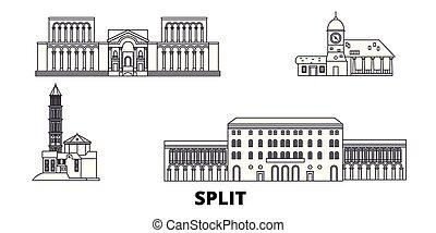城市, outline, 視域, 插圖, set., landmarks., 符號, 地平線, 矢量, 分裂, 線, 克羅地亞, 旅行