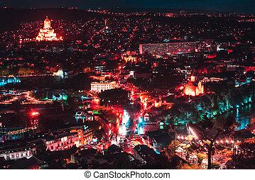 城市,  tbilisi, 老, 夜晚, 大