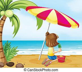 城浜, 若い 女の子, 遊び