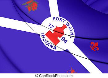 城砦, usa., 旗, ウェイン, (indiana)