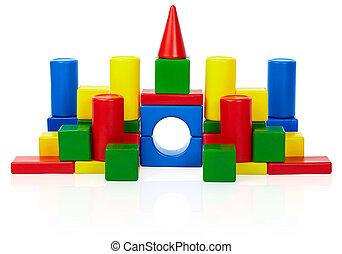 城, おもちゃ, 隔離された, 背景, 白