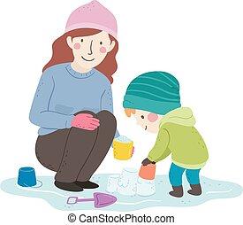城, お母さん, 建造しなさい, 男の子, 子供, 氷, イラスト