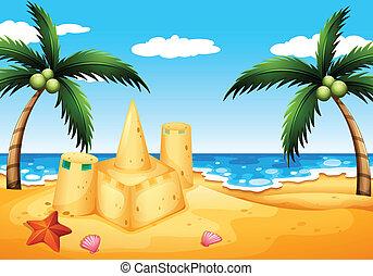 城, ココナッツ, 浜の 砂, 木