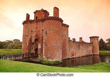 城, スコットランド, イギリス, caerlaverock