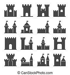 城, セット, アイコン