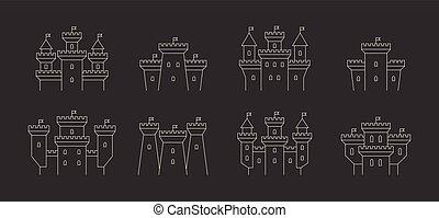 城, セット, 要塞, アイコン