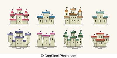 城, セット, 要塞, カラフルである, アイコン