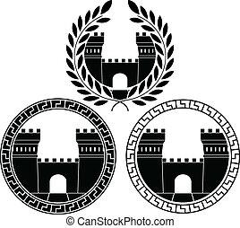 城, セット, gates.