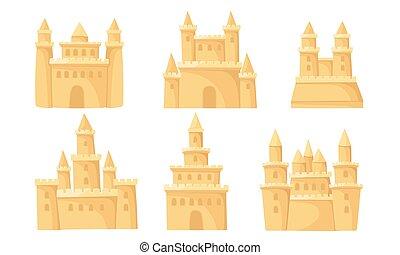 城, バックグラウンド。, ベクトル, towers., イラスト, 砂, 白