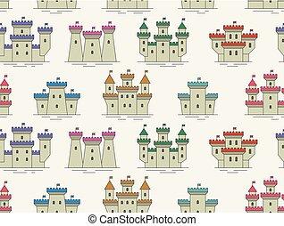 城, パターン, 要塞, seamless, カラフルである