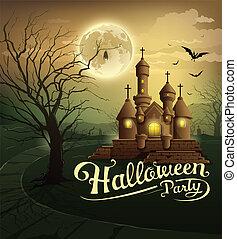 城, パーティー, ハロウィーン, 幸せ