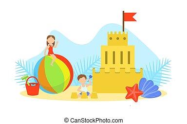 城, ベクトル, イラスト, 砂, ごく小さい, 作成, 海, 浜, かわいい, 子供