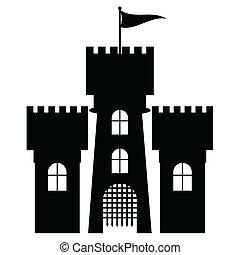 城, ベクトル, 隔離された, アイコン