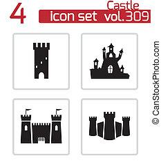 城, ベクトル, 黒, セット, アイコン