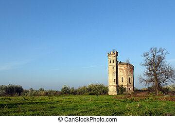 城, 古い, タワー, 風景, 台無しにされる