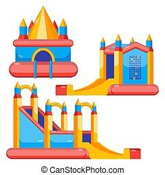 城, 子供, カラフルである, 隔離された, 弾力がある, セット, 白