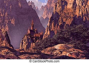 城, 峡谷, 海原