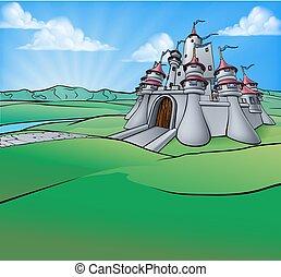 城, 漫画, 背景, 現場