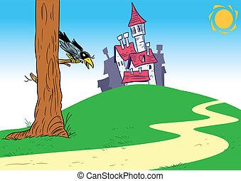 城, 漫画, 背景
