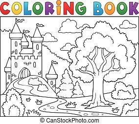 城, 着色, 木, 本