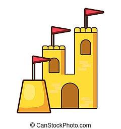 城, 砂, 旗, 白い背景