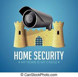 城, 私, システム, セキュリティー, 概念, 家, cctv, -, カメラ