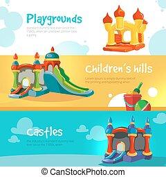 城, 膨らませることができる, 丘, childrens, 運動場