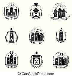 城, 装飾用である, 古代, ロゴ, コート, heraldic, 腕, 隔離された, 紋章, ベクトル, collection., イラスト, set.