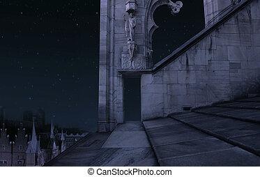城, 部分, 古い, 夜