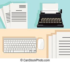 執筆, イラスト, typewriter., blog, blogging., 仕事場, copywriting., storytelling, 平ら, technique., 概念, design., blogging