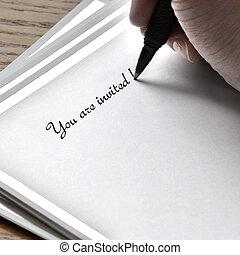 執筆, カード, 招待