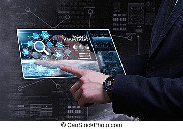 執筆, ネットワーク, ビジネス, concept., 管理, word:, ファシリティ, インターネットビジネス, 人, 技術, 若い