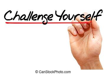 執筆, ビジネス, あなた自身, 挑戦, 手, 概念