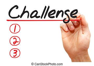 執筆, ビジネス, リスト, 挑戦, 手, 概念