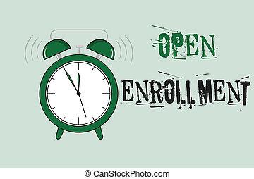 執筆, ビジネス 人々, 保険, テキスト, 毎年, 期間, 缶, enrollment., 開いた, いつか, enroll, 単語, 概念