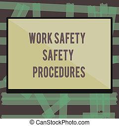 執筆, メモ, 提示, 仕事, 安全, 安全, procedures., ビジネス, 写真, showcasing, 方法, へ, minimize, 危険, そして, 事故