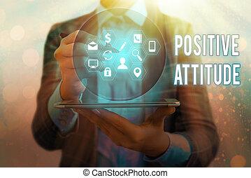 執筆, 生活, ある, テキスト, 意味, ポジティブ, 手書き, よい, attitude., 見る, things., 概念, 楽天的である
