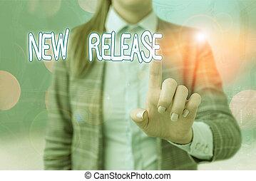 執筆, 発表, 新しい, テキスト, release., 最近, 手書き, product., 意味, 何か, 概念, newsworthy