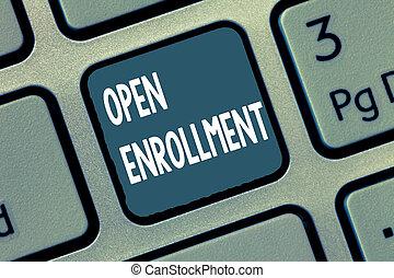 執筆, showcasing, ビジネス 人々, 概念, 保険, 毎年, 期間, 缶, enrollment., 開いている手, いつか, 提示, 写真, enroll