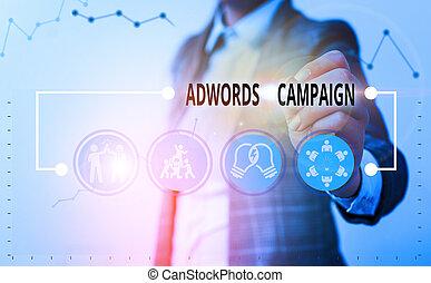 執筆, showcasing, 目標とすること, ビジネス, 概念, 訪問者, 作戦, campaign., keywords., 手, 権利, 提示, 写真, adwords