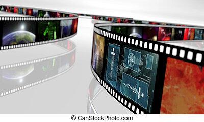基づかせている, サイエンスフィクション, 概念, 巻き枠, フィルム