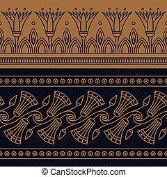 基づかせている, 国民, ベクトル, seamless, はす花, イラスト, 装飾, エジプト人