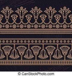 基づかせている, seamless, ベクトル, 花, 国民, 装飾, イラスト, エジプト人, ロータス